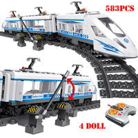 RC Technic City Railway Building Blocks Compatible Legoing Remote Control Station Rail Train Enlighten Bricks Toys For Children