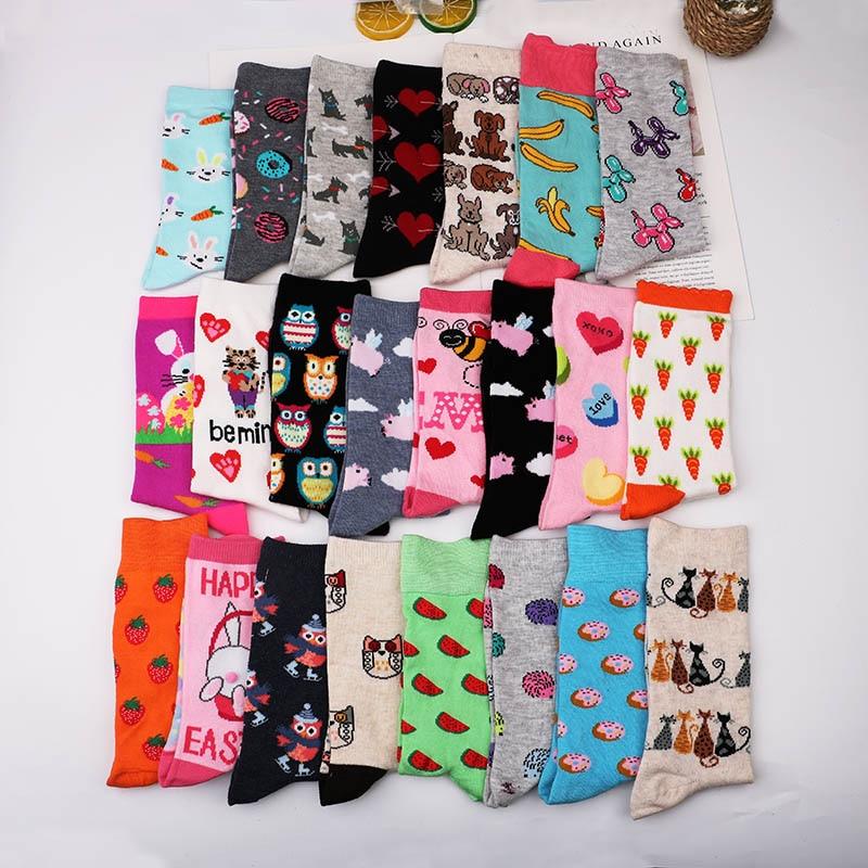 Fashion Happy Funny Socks Cotton Soft Sox Beautiful Curve  Women Ladies Girls Harajuku bird puppy cat Art ankle Socks