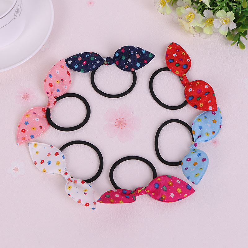 Flowers Rabbit Ears Hair Ring Headwear,  Child Towel Ring Rabbit Ears Hair Ring, Best DIY Gift For Kids And Girls