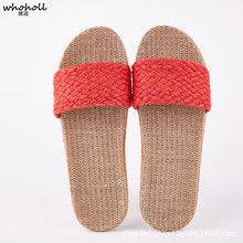 WHOHOLL Women's Summer Flat Sandals Indoor House Female Slippers Women Slides Outdoor  Flip Flops Casual Solid Home Flax Shoes whoholl women summer linen slippers breathable cute rabbit linen flip flops female casual flax slippers sandals indoor shoes
