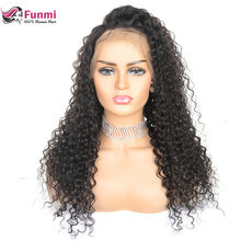 Kinky Curly Lace Front Human Hair Wigs Malaysian Full Lace Front Wigs For Women Pre Plucked 150 180 Funmi 4x4 Remy Lace Wigs(China)
