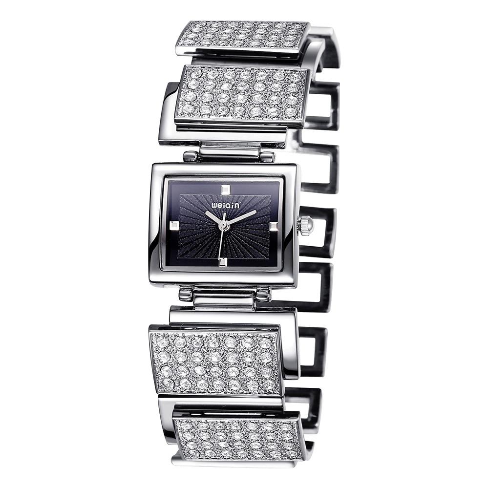 ФОТО WEIQIN Unique Rhinestone Silver Bracelet Watches Women Quartz Fashion Dress Ladies Watch flamengo Female Clock montre femme