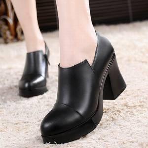 Image 4 - Zapatos de tacón alto grueso para mujer, zapatos de piel auténtica de primera capa de piel de vaca, con plataforma, para primavera y otoño, 2020