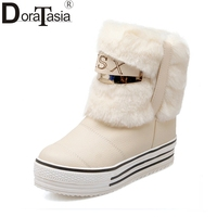 Fashion Women Snow Boots Warm Fur Shoes Thick Platform Hidden Wedge Heels Home Outdoor Comfortable Ankle