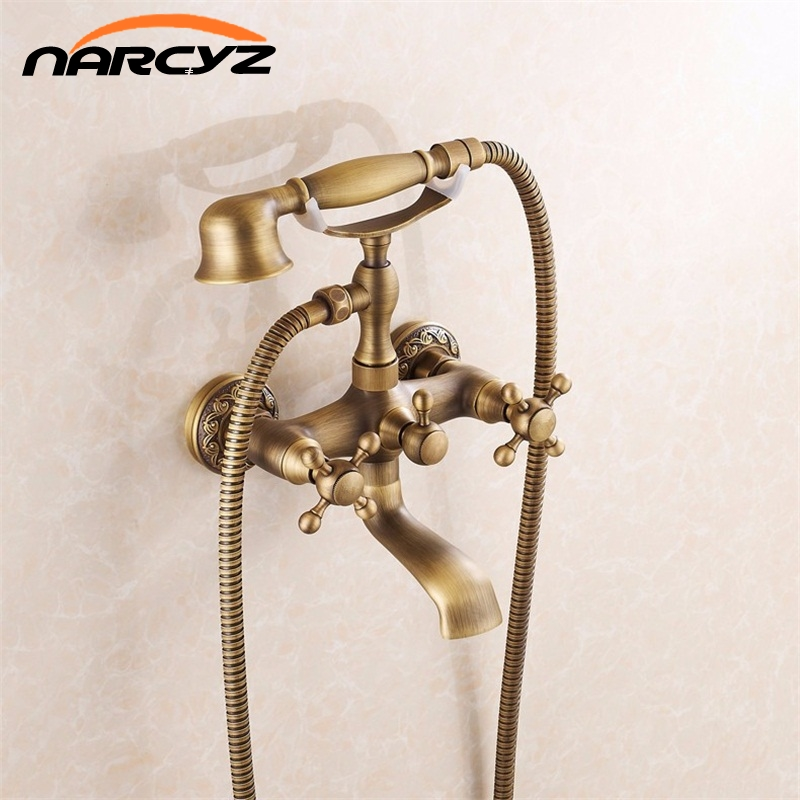 Bathtub Faucets Wall Mounted Antique Brass Brushed Bathtub Faucet With Hand Shower Bathroom Bath Shower Faucets Torneiras XT354 hpb brass chrome finished thermostatic faucet bathroom shower faucets wall mounted bathtub mixer bath set fashion style hp5201