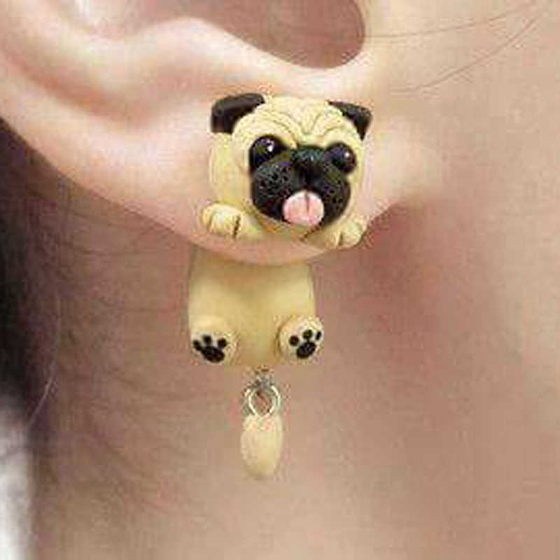 Fashion Cute Handmade Polymer Clay Soft Cute Sharpei Pug Dog Earrings For Women Cartoon Animal Stud Earring Jewelry Gift