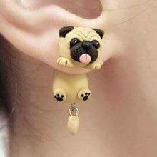 Fashion Cute Handmade Polymer Clay Soft Cute Sharpei Pug Dog Earrings For Women Cartoon Ani