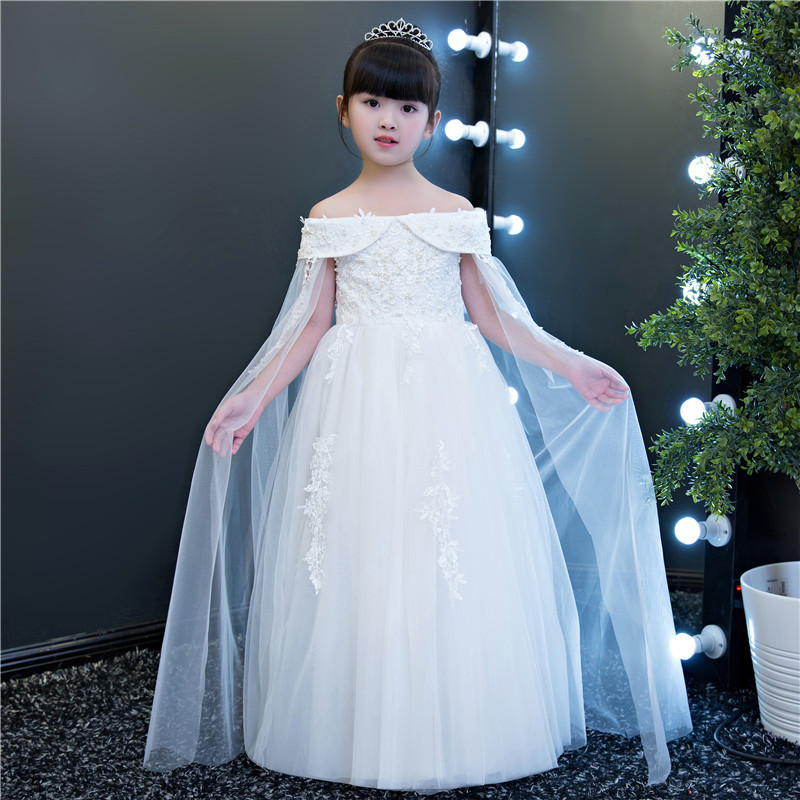 Elegant Ankle Length White Beading Shoulderless Flower Girl Dress Kids Teenagers Princes ...