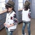 New 2017 Spring Girls jacket Children Clothing Fashion Print Leisure Baseball Coat Kids Sport Jacket Girls Clothes Age 3-15Y