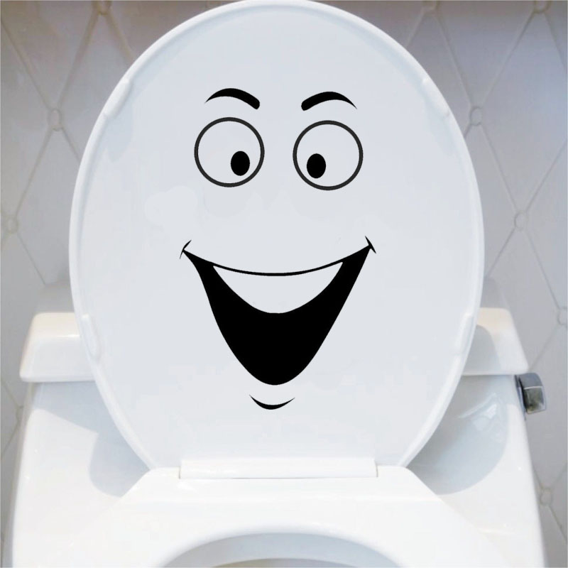 Smiley Lustige Badezimmer Dekoration Aufkleber Toliet Aufkleber Schwarz  4WS 0081(China (Mainland)