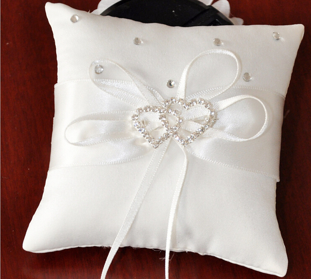 10pcs Dainty Wedding Ring Pillow With Double Heart Crystal Stone