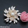 Hermosa mais recente venda brilhante festa show de projeto da flor floral das mulheres DOM AAA Branco CZ Rosa de Ouro Pinos Broche de Casamento Nupcial jóias