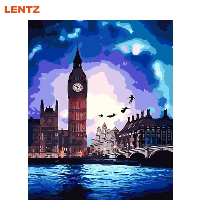 Lentz Londra Città Moderna Big Ben Pittura By Numbers Tela Digitale