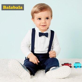 Комплект одежды для маленьких мальчиков, Повседневная весенне-осенняя футболка с длинными рукавами + комбинезон, мягкие простые дизайнерск...