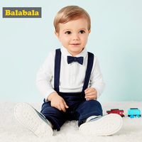 Baby Boys Clothing Set Casual Spring Autumn Long Sleeve T shirt + Bib Pants Soft Simple Bow Design Boy Kids Suits Infant Suit 20