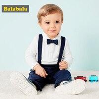Bebê meninos conjunto de roupas casuais primavera outono manga longa camiseta + bib calças macio simples arco design menino crianças ternos infantil terno 20|Conjuntos de roupas| |  -