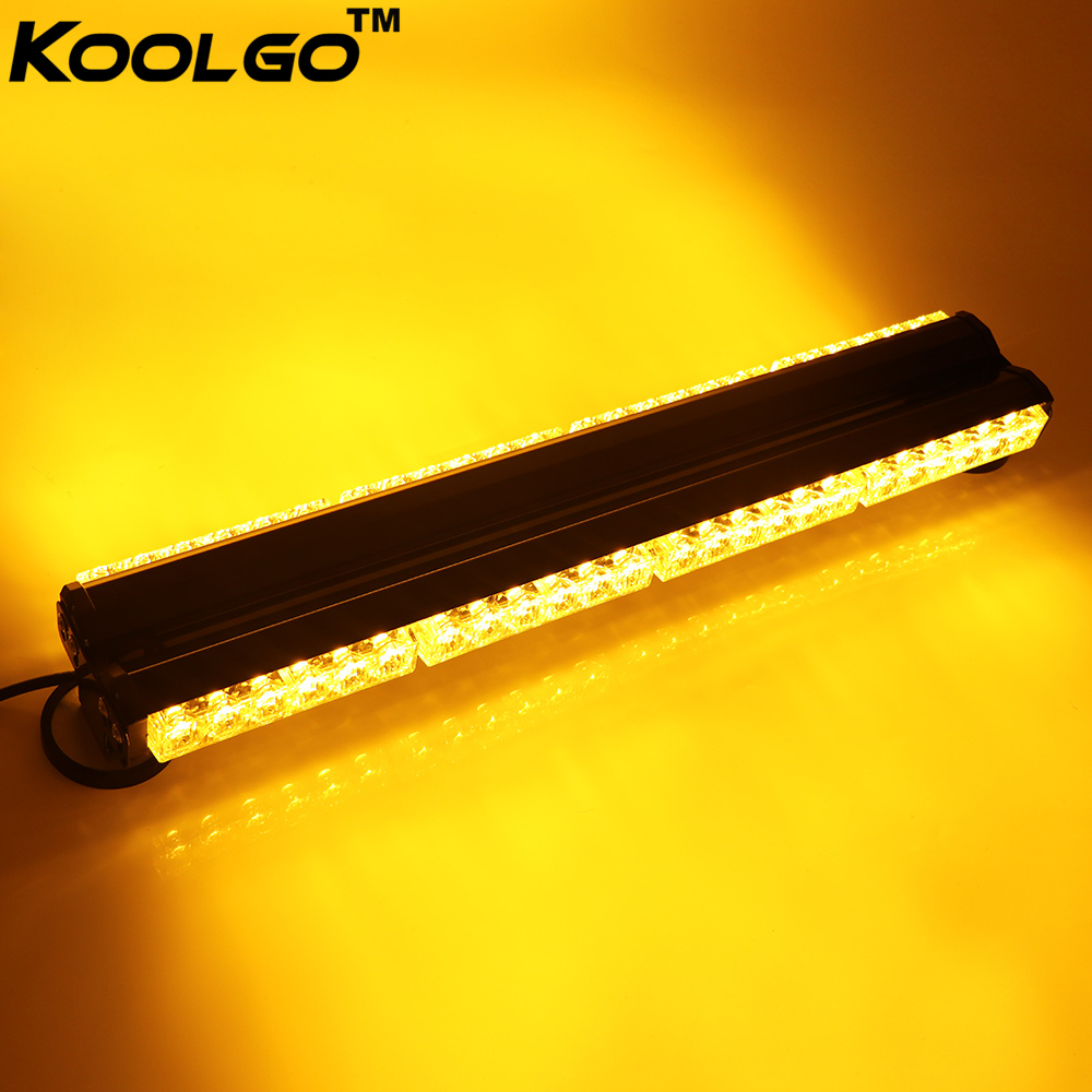 Car Lights Koolgo Double Side 144w 48 Led Car Trucks Traffic Advisor Hazard Emergency Flash Strobe Light Bar Signal Lamp Amber Yellow Good Reputation Over The World