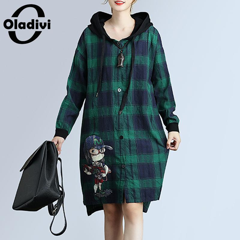 Oladivi Brand Clothing Plus Size Women Blouses Hooded Coat Ladies Long Sleeve Plaid Blouse Shirt Tops Female Fashion Print Blusa