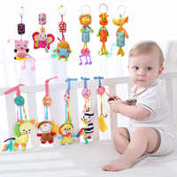 Zabawki dla dzieci 0-12months szopka komórka grzechotki śliczne pluszowa zabawka dla wózek łóżko wiszące Cartoon zwierząt Wind Chime z krzemu gryzak
