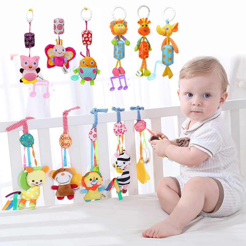 Baby Toys 0-12 Months Crib Mobile Rattles Cute Plush Toy For Stroller Bed Hanging Cartoon Animal Wind Chime With Silicon Teether