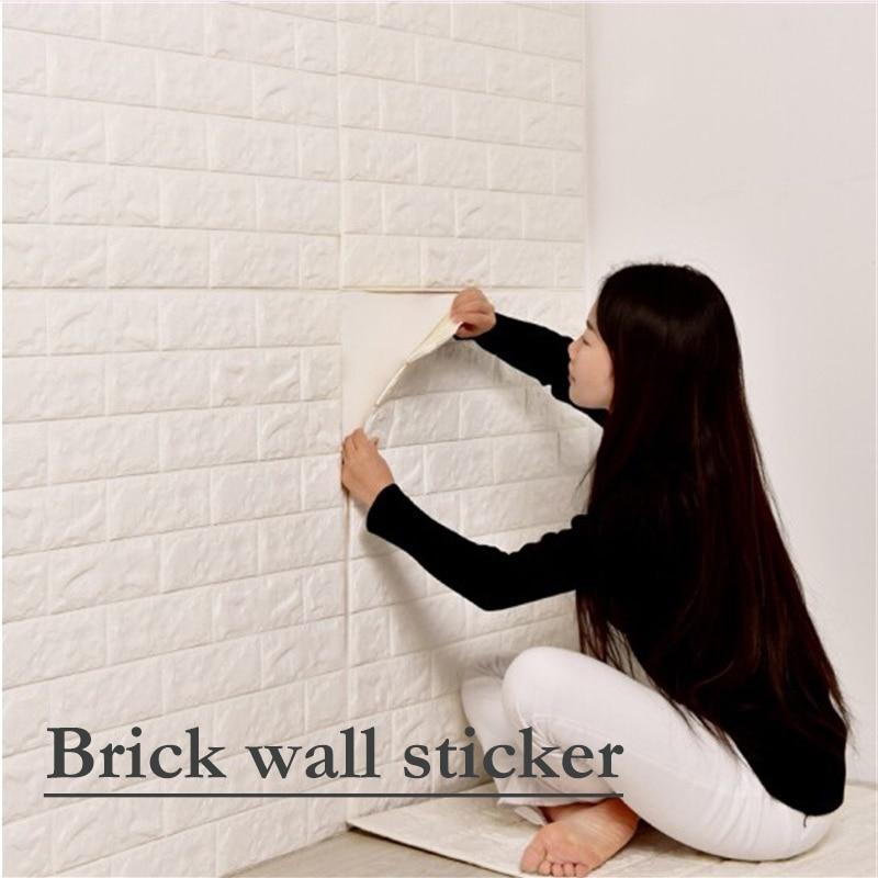 1 шт. 70*15 см DIY самостоятельно Adhensive 3D кирпичная стена Стикеры Декор в гостиную пены Водонепроницаемый облицовка стен обои для ТВ фон