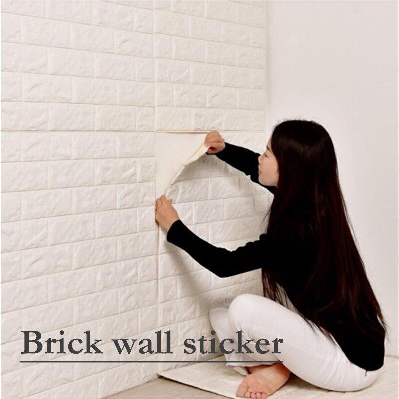 1 pc 70*15 CM bricolage auto-adhésif 3D brique mur autocollant salon décor mousse imperméable revêtement mural papier peint pour fond TV