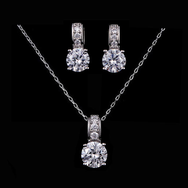 VOGUESS Sparkling AAA Cz Bridal Jewelry Set White Gold Cheap