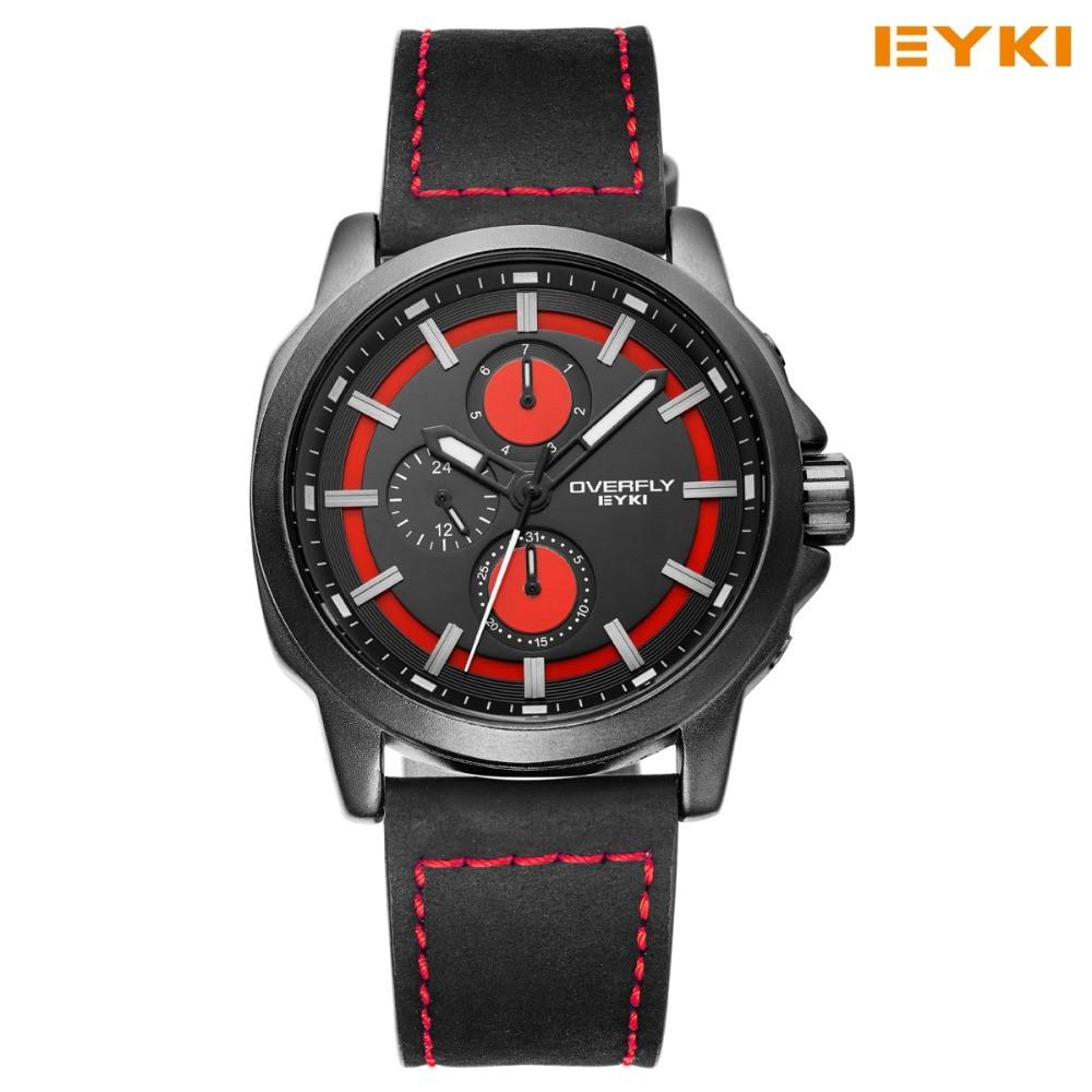 2017, распродажа Новый EYKI часы для Для мужчин большой циферблат наглядная шкала точное время путешествия кварцевые часы из искусственной кож...