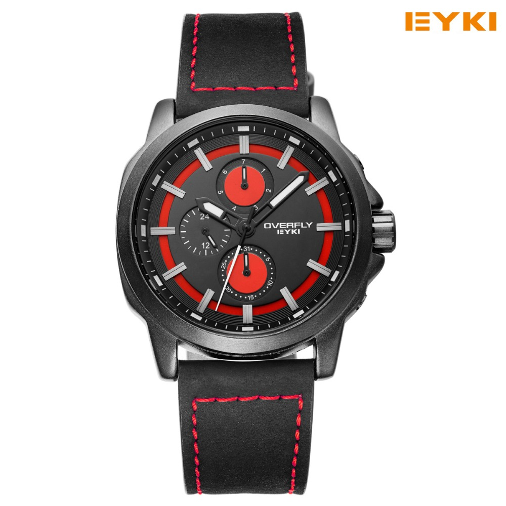 2017 Sale New Eyki Watches For Men Big Dial Clear Scale Accurate Travel Time Quartz Watch Pu Leather Mens Wrist Luminous Hands