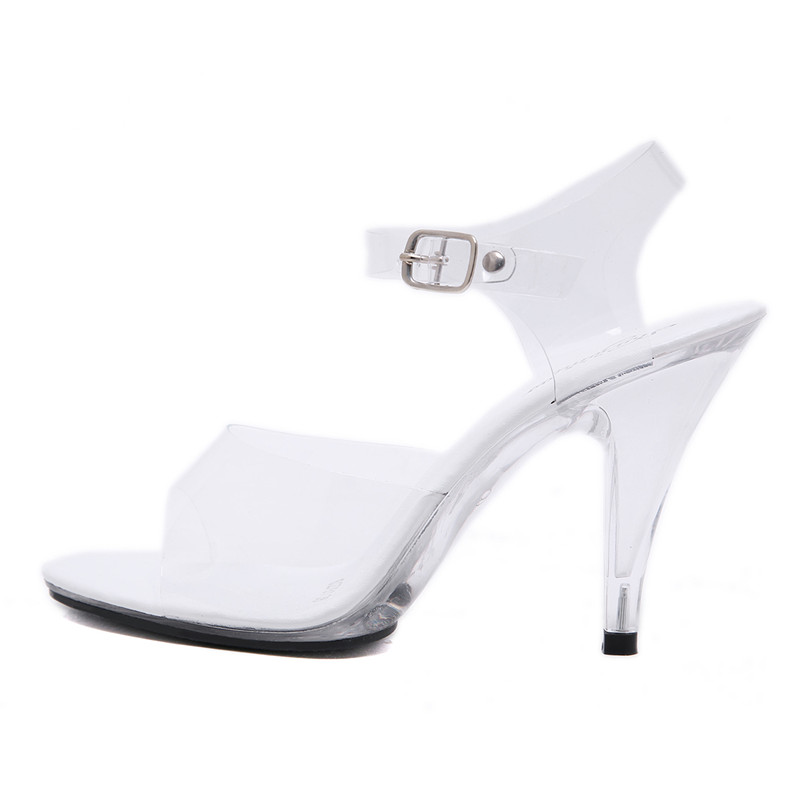 ARQA 2019 White Summer Sexy Shoes with Transparent Open-toed Hollow One-word Fastener Stiletto High heel Womens SandalsARQA 2019 White Summer Sexy Shoes with Transparent Open-toed Hollow One-word Fastener Stiletto High heel Womens Sandals