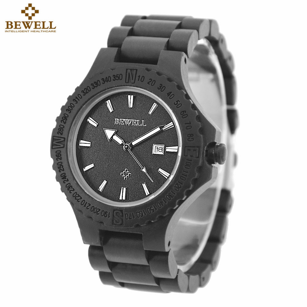 BEWELL Wooden Watch Men Wood Auto Date Wristwatch Men's Quartz Watch Top Brand Luxury Watches Men Clock with Paper Box bewell multifunctional wooden watches men dual time zone digital wristwatch led rectangle dial alarm clock with watch box 021a