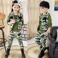 Crianças set 3 pçs/lote camuflagem esportes camisola colete + camiseta + calça meninos adolescentes/meninas de roupas infantis crianças meninos conjuntos suitschild 4-18Y