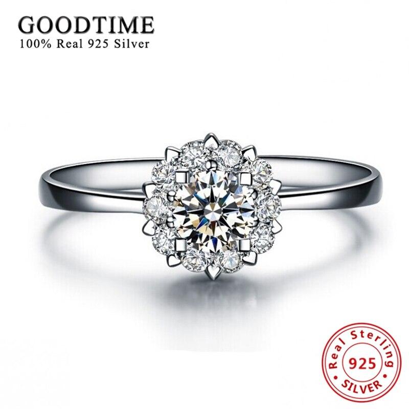 Envoyez un certificat en argent! Pure 925 bague en argent massif romantique neige fleur zircone anneaux de mariage pour les femmes bijoux Anillo R006