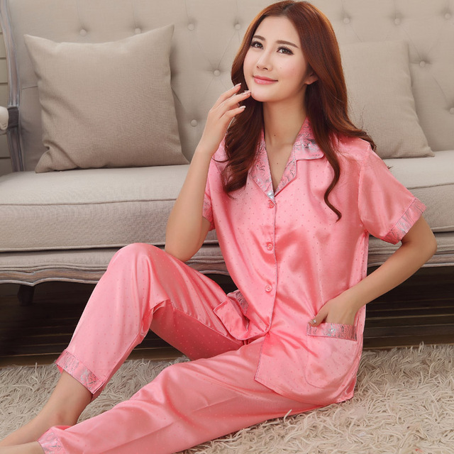 Chinês cetim Pijamas Casal conjuntos de pijama manga curta pijamas homwear sono & lounge feminino faux seda das mulheres da senhora sleepwear