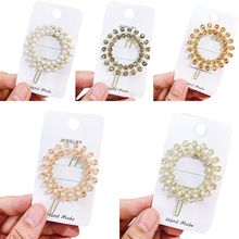 Korean Wedding Party Circle Frog Bobby Pins Women Multi Rows Faux Pearl Imitation Crystal Hair Clip Boutique Side Bangs Barrette