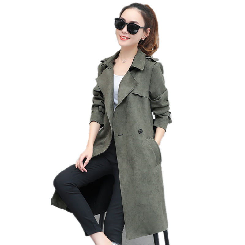 Fashion Suede   Trench   Coat Women Spring Long Coat Vintage Adjustable Waist Female Overcoat Elegant Windbreaker Suede   Trench   C3882