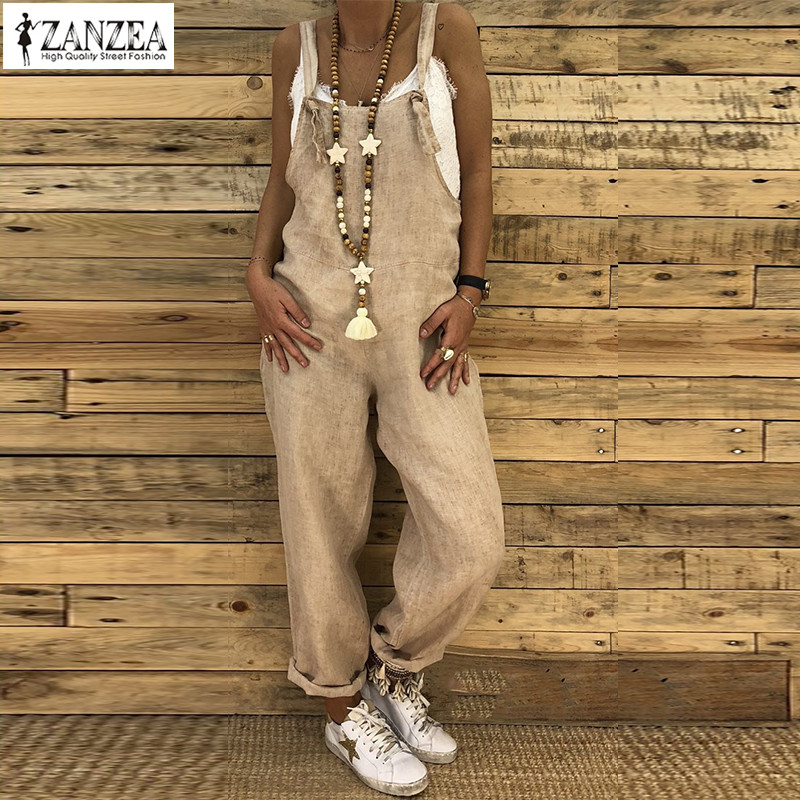 2019 ZANZEA Women Vintage Strappy Solid Loose   Jumpsuits   Casual Cotton Linen Rompers Female Party Dungarees Harem Overalls S-5XL