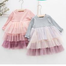 2019 New Spring Autumn Kids Dresses For Girls Mesh Long Sleeve Princess Dress For Girl Cotton Birthday Party Girls Dress Brand цена