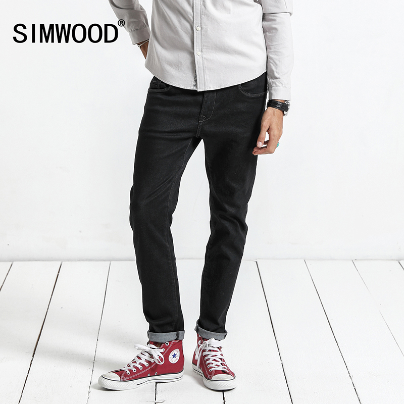 SIMWOOD 2018 Autumn New Jeans Men Skinny Biker Jeans Denim Overalls Men Slim Fit Plus Size Fashion Trousers Plus Size NC017014 new straight jeans autumn winter men s loose cowboy denim trousers plus size 28 44 46 48 man jeans bottoms