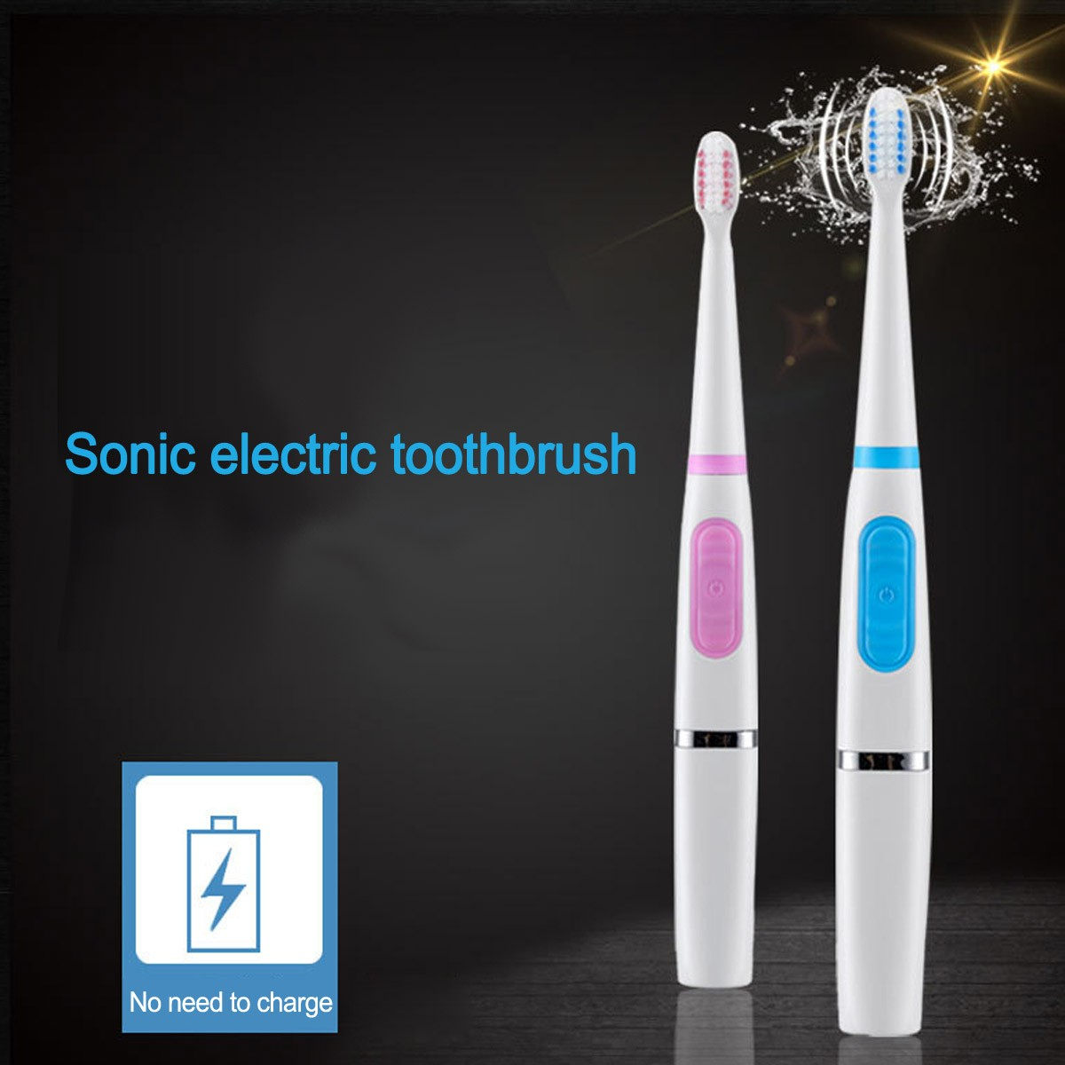 Dry Battery Powered Electric Sonic Toothbrush, Portable Waterproof Teeth Whitening Toothbrush For Children Adults image