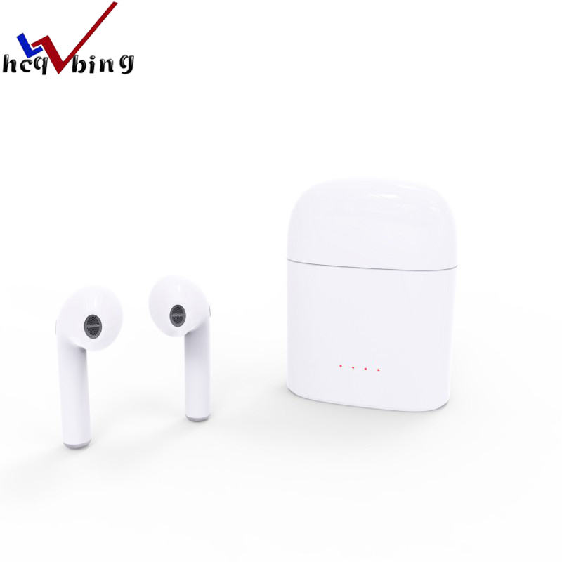 HCQWBING I7S Double Ear TWS Bluetooth Earphone Wireless Earbuds In-Ear Headset Mini Headphone With Mic for iphone X 7 Android new guitar shape r9030 bluetooth stereo earphone in ear long standby headset headphone with microphone earbuds for smartphones