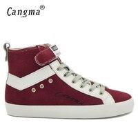 CANGMA İtalya Tasarımcı Adam Çizmeler Ayakkabı El Yapımı Erkek Hakiki Deri Sneakers Mens Kırmızı Lüks İnek Süet Ayakkabı Moda Ayak Bileği Çizmeler