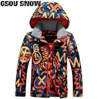 Gsou Snow Boys Kids Ski Jacket Snowboard Jacket Windproof Waterproof Outdoor Sport Wear Skiing Children Clothing Thermal Coat