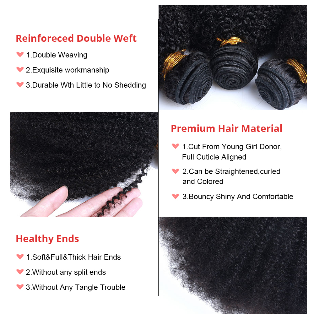 Mongolian Afro Kinky Curly Weave 4B 4C 100% Natural Virgin Black - Cabello humano (negro) - foto 6