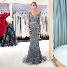 Walk Beside You Gray Long Evening Dresses Mermaid Sleeves Beaded Sequined Bling Shiny Prom Gowns Vestidos Formales Para