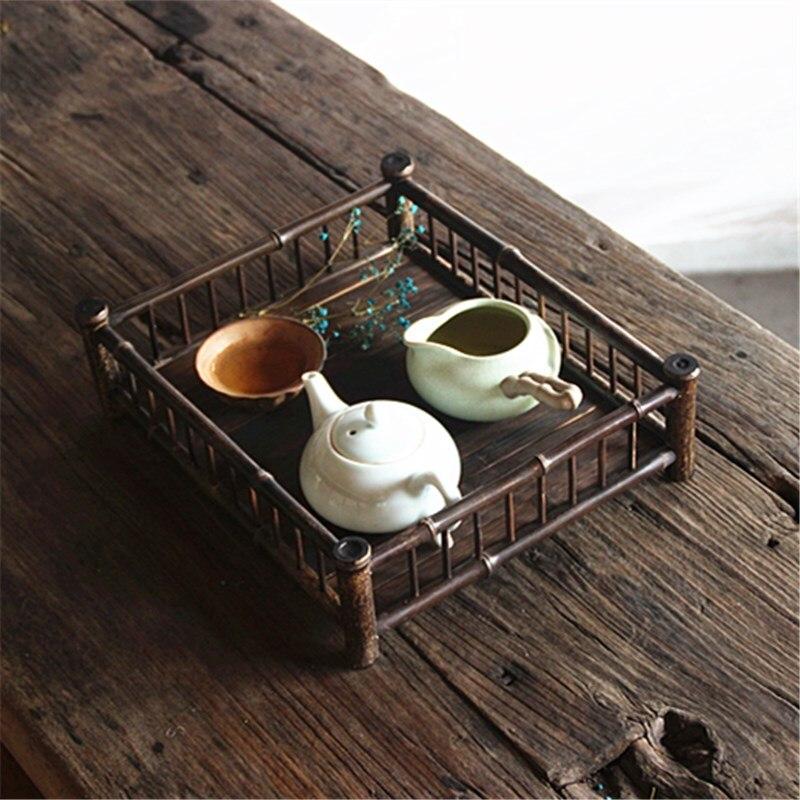 Rétro bambou thé table porte-gobelet Kung Fu thé plateau service vintage à la main en bois soucoupe thé ensemble abordable thé plateau Arts