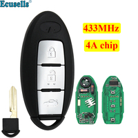 New Smart Remote Key Fob 3 Button 433MHZ with 4A Chip for Infiniti Q50 Q50L Q50S with insert key blade