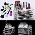3 Camadas de Cristal De Acrílico Transparente Cosméticos Organizador de Gaveta de Jóias Assista Exibição Batom Titular Recipiente Estande Kit de Ferramentas de Maquiagem