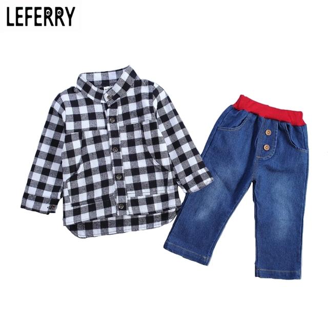 2016 New Outono Crianças Roupa Do Bebê Conjuntos de Roupas Meninos Xadrez Shirt + Calça Jeans Conjunto de Roupas Meninos Da Criança Do Bebê Meninos Roupas Boutique
