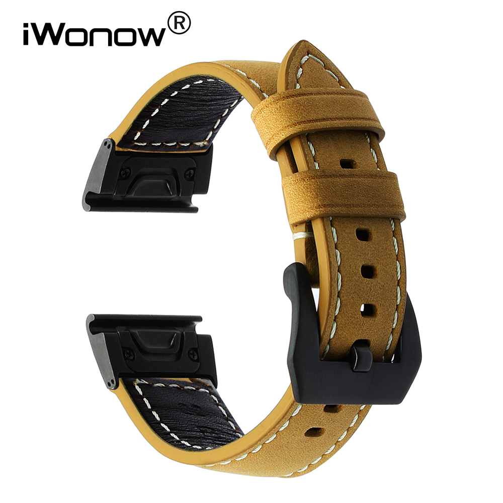 Easy Fit Genuine Leather Watchband for Garmin Fenix 5X / 3 / 3 HR Quick Release Strap 316L Stainless Steel Clasp Belt кольцо opk 316l aaa 3 gj447